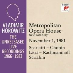 Vladimir Horowitz in Recital at the Metropolitan Opera House, New York City, November 1, 1981